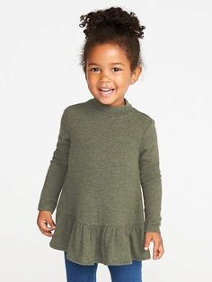 Old Navy Plush-Knit Mock-Neck Peplum-Hem Top for Toddler Girls - July 21 2019 at Newborn Girl Outfits, Cute Baby Girl Outfits, Toddler Boy Outfits, Toddler Fashion, Kids Outfits, Kids Fashion, Fashion Clothes, Babies Fashion, Baby Girl Shoes