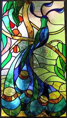 Julia Spall Stained glass peacock