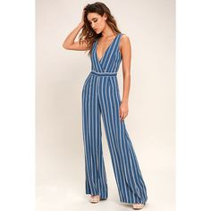 Montauk Yacht Club Blue and White Striped Jumpsuit ($69) via Polyvore featuring jumpsuits, blue, sash belt, beach jumpsuit, striped jumpsuit, blue jumpsuit and blue jump suit