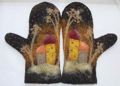 mittens embellished with needlefelting and a bit of embroidery Too cute. Mitten shapes embellished and mounted in old frame! Knit Mittens, Mitten Gloves, Fingerless Mittens, Wet Felting, Needle Felting, Art Fil, Wooly Bully, Art Textile, Penny Rugs