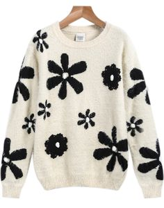 Apricot Long Sleeve Floral Loose Knit Sweater 24.33