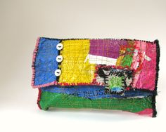 Clutch Bag Upcycled Happy Colorful. $45.00, via Etsy.