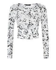 Teens Monochrome Floral Print Crop Top  | New Look