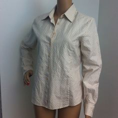 French designer Faconnable blouse. Faconnable started out in the fifties - Jean Goldberg - master tailor -opened a boutique in France as sold men's clothing only until 1995. Beautifully tailored shits - suits and sweaters. This blouse is 100% cotton   Light peach in color - embroidered diamond shapes with grey box accents. Bust 40 -waist 34 -hips 38 - standard size medium. faconnable Tops Blouses
