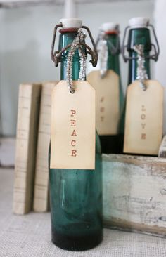 :: old german beer bottles for Christmas decor. who knew? ::