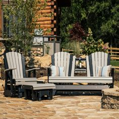 Luxcraft / Crestville® Poly Adirondack 3 pc. Glider Seating Set features a pull-down cupholder.  All backed by a lifetime warranty!  All weather performance, low to no maintenance Amish made poly furniture!