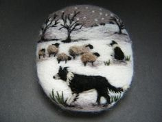 Handmade needle felted brooch 'Gwen, Pip and the Silent Night' by Tracey Dunn