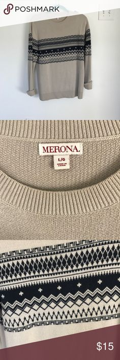 Men's Adirondack print sweater Great used condition. I wore this as an oversized crewneck sweater for cozy winter days. Fits true to men's size large. Beige sweater with black pattern. Merona Sweaters Crewneck
