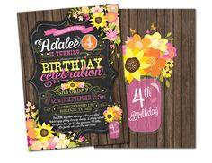 Sunflower Birthday -  pink, orange, yellow, chalkboard, mason jar, DIY, Printable - #143 by SincerelyJennifer on Etsy https://www.etsy.com/listing/245480826/sunflower-birthday-pink-orange-yellow