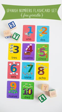 Free to download Spanish Numbers Flashcards printable