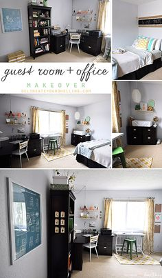Guest Room + Office Makeover Reveal, it's amazing what some white paint can do to a room!  Then, a few inexpensive updates and you have a whole new space.