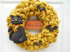 Halloween Burlap rustic country door wreath by ChloesCraftCloset, $43.00