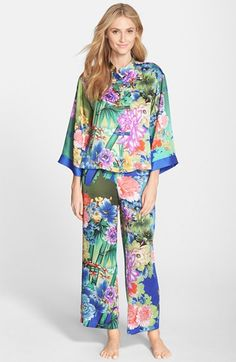 Natori 'Tahiti' Print Satin Pajamas available at #Nordstrom