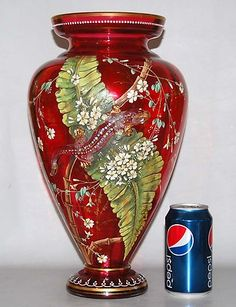 Large 19th c Antique Bohemian Moser Enameled Cranberry Glass Vase w Salamander