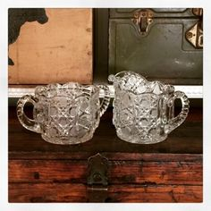 Granny JUNK is the new Black. Fabulous Large Vintage Crystal Creamer and Sugar. Serve up JUNK!!