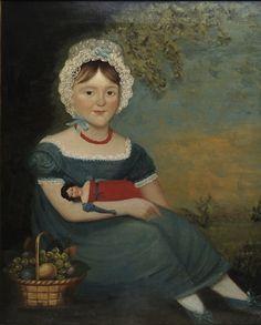 Attribué à Joseph Whiting Stock (1815-1855)  Portrait de petite fille avec sa poupée, huile  sur toile, XIXe siècle, USA, coll.part.