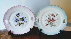 Two Vintage Floral Plates Plates With Handles Display Plates Plate Display, Vintage Plates, Scroll Design, Makers Mark, Fine Dining, Vintage Floral, Blue Flowers, Decorative Plates, My Etsy Shop