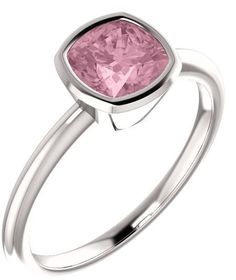 Baby Pink Topaz Cushion-Cut Ring in White Gold Baby Pink Colour, Topaz Jewelry, Pink Topaz, Topaz Gemstone, Cushion Cut, Modern Jewelry, White Gold, Cushions, Pure Products