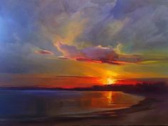 Sunset Painting by Holly Ready Sky Painting, Sunset Paintings, Beach Sunset Painting, Famous Landscape Paintings, Sunrise Painting, Pictures To Paint, Beautiful Paintings, Painting Techniques, Landscape Art
