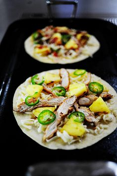 Grilled chicken-pineapple quesadillas - dinner using fresh pineapple