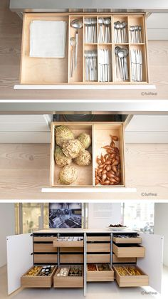 island pantry, drawers of food