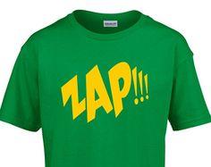 ZAP!!!  Kids Childrens Child Boys Girls Cotton T-Shirt Retro Comic Book Vintage Geek Batman  NEW