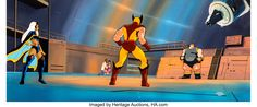 X-Men Wolverine, Storm, and the Blob Pan Production Cel and Master Background (Marvel, c. Wolverine and - Available at Sunday Internet Comics Auction. Wolverine And Storm, Marvel Cartoons, X Men, Auction, Animation, Animation Movies, Motion Design