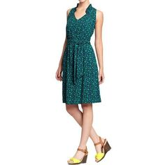 c574f8ea7ee5 Women s Ruffle-Trim Tie-Belt Dresses in Green Heart   Old Navy