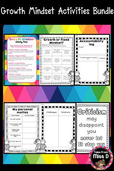 Encourage a Growth Mindset in your classroom with these two Activity Packs. Each pack contains 8 activities to help students understand and develop a Growth Mindset. This Bundle includes Activities 1 and 2. © Tales From Miss D