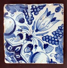 ¤ Dutch Delft blue and white tile, 17th century, decorated with a tulip on the…