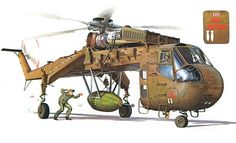 CH-54 Skycrane of the 1st Cavalry Division carrying a 10,000 lb bomb