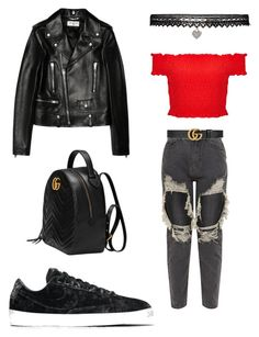 """Back 2 skool #3"" by karinstyleonly on Polyvore featuring Yves Saint Laurent, Gucci, Miss Selfridge, Betsey Johnson and NIKE"