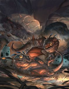 Art about fantasy, steampunk, comics, sci-fi and other lands of dreams. Mythical Creatures Art, Mythological Creatures, Magical Creatures, Fantasy Monster, Monster Art, Fantasy Dragon, Dragon Art, Creature Concept Art, Creature Design
