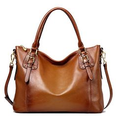 JackChris Women Genuine Leather Vintage Buckle Shoulder Bag Tote Handbags Purse SF8008 Brown >>> More info could be found at the image url.Note:It is affiliate link to Amazon.