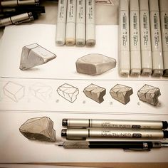 """✏ 6 steps """"Dofus style stone"""" fast tutorial ✏ 1) Draw a 3d basic cube. 2) Cut the cube edges. 3) Draw outlines (multiliner sp 0,3) and inline with some skratches (multiliner 0,05). 4) Color the faces (greys T1, T2, T3, T4 & T6). 5) Dirty the stone faces with other grey like W2 & N3. 6) Optional : add white lines on edges (gelly roll 08) and shadow (greys C1, W2, N3 & T4). #copic #copicmarker #copicmarkers #tino_copic #copicsketch #arttutorial #drawtutorial #dofus #tutorial"""
