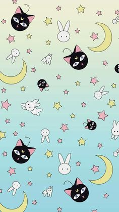 sailor moon, wallpaper, and moon afbeelding Sailor Moon Cat, Sailor Moon Girls, Arte Sailor Moon, Sailor Moon Crystal, Sailor Venus, Wallpapers Sailor Moon, Sailor Moon Wallpaper, Cute Wallpapers, Wallpaper Backgrounds