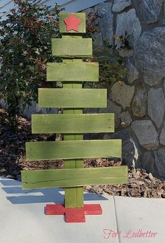 diy pallet christmas tree tutorial, christmas decorations, pallet, repurposing upcycling, seasonal holiday decor, Attach the base to your trunk with brad nails Enjoy