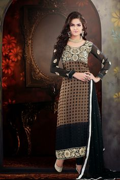USD 56.29 Brown Brasso Pakistani Salwar Suit   36100