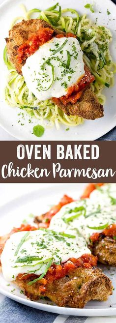 Baked Chicken Parmesan Recipe - An Italian favorite! Crispy chicken, topped with fresh tomato sauce, mozzarella, and served with spiralized zucchini noodles. via @foodiegavin