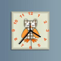 Bashful owl clock, Clock for children. Kids room.