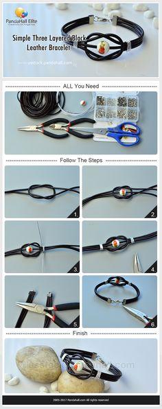 Pandahall Elite three layered black leather bracelet DIY