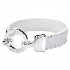 Snö of Sweden Lederarmband Scott silber/weiß. Leather Bracelet Scott silver/white