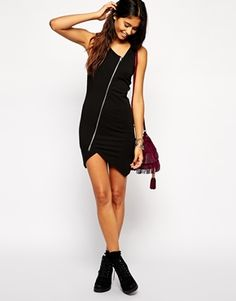 ASOS Asymmetric Zip Dress - this would look super cute with colored tights and boots! #fallfashion