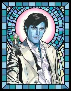 Saint Bryan Ferry (Roxy Music) w/Brian Eno on shoulder, by Matthew Lineham Roxy Music, Sand Crafts, Pop Culture Art, Light Crafts, Modern Artists, Post Punk, Concert Posters, Music Posters, Bands