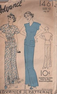 MOMSPatterns Vintage Sewing Patterns - Advance 1461 Vintage 30's ... Lingerie Patterns, Clothing Patterns, Flare Palazzo Pants, Flared Palazzo, Vintage Sewing Patterns, Sewing Ideas, Sewing Projects, Old Dresses, Summer Dresses