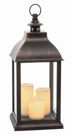 "22.5"" Jumbo Plastic Lantern with 3 Integrated Plastic Pillars and 5 Hour Timer, Antique Copper"