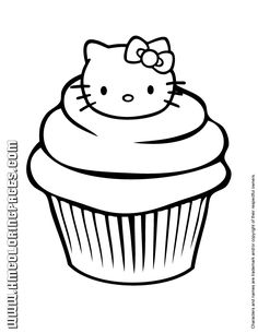 Hello Kitty Cupcake Coloring Page - Could be a handy little site!