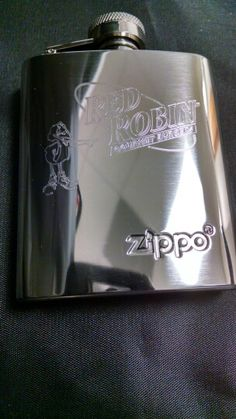 Red Robin flask that we did for a drawing/giveaway fundraiser #engraving #customengraving #redrobin