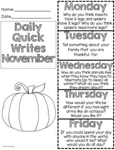 November quick writes - one sheet for the week - fun prompts first grade writing… Writing Prompts 2nd Grade, Kindergarten Writing Prompts, First Grade Writing, Writing Prompts For Kids, Journal Writing Prompts, Writing Lessons, Kids Writing, Teaching Writing, Writing Activities