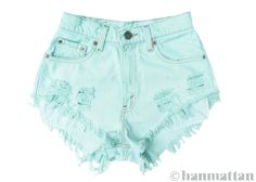 """ALL SIZES """"SEAFOAM"""" Vintage Levi high-waisted denim shorts pastel mint green turquoise blue - Woman Under Wear Distressed High Waisted Shorts, Vintage High Waisted Shorts, Ripped Jean Shorts, Waisted Denim, Levi Shorts, Vintage Shorts, Pastel Shorts, Mint Shorts, Style Grunge"""